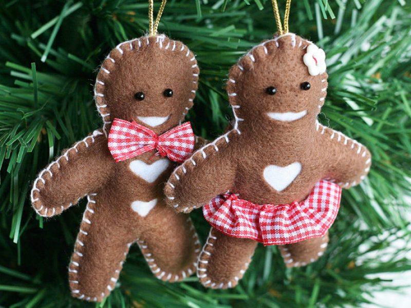 Bolachinhas de feltro para decorar a árvore de Natal