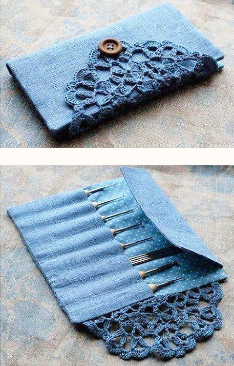 porta agulhas de crochê