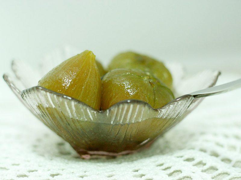 Doce de figo verde em calda como os de antigamente