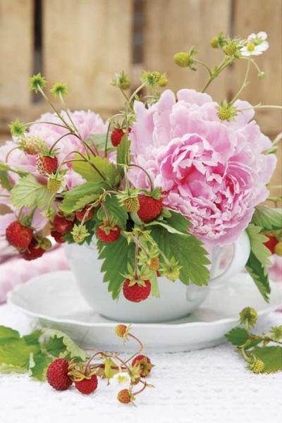 Arranjos florais em xícaras