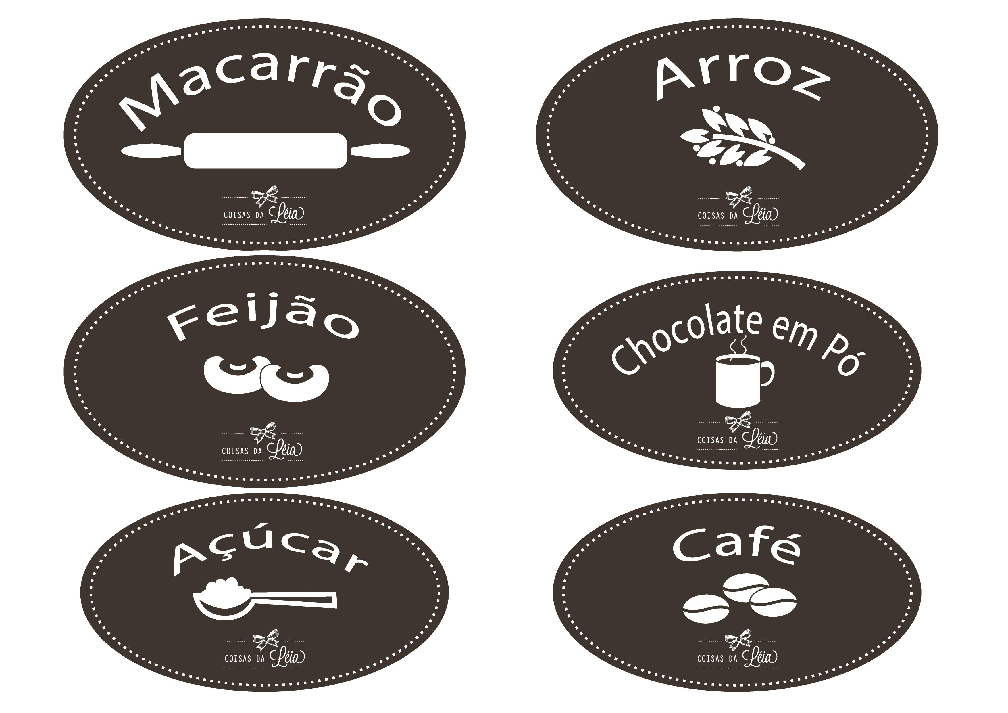 Armario Para Cozinha Pequena De Parede ~ Etiquetas para potes de mantimentos Coisas da Léia