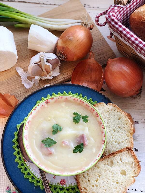 Sopa de aipim e batata doce