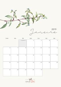 Calendário 2019 janeiro