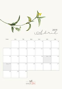 Calendário 2019 abril