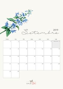 Calendário 2019 setembro