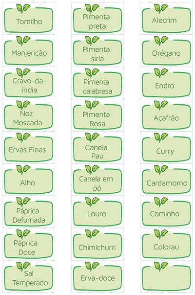 etiquetas para temperos verdes