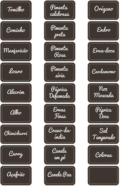 etiquetas para temperos simples, fundo marrom, letra branca