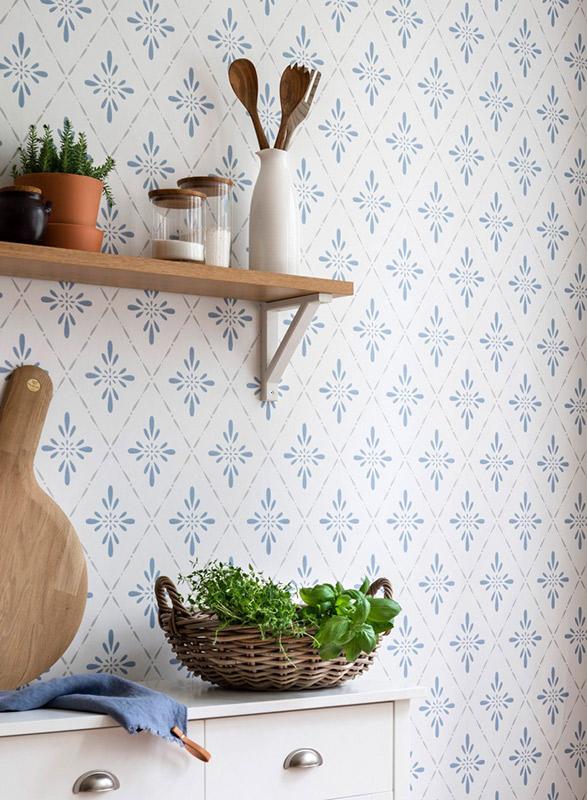 papel de parede para cozinha azul e branco