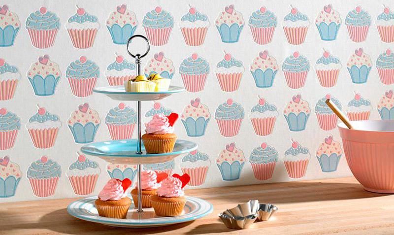 papel de parede para cozinha com cup cake