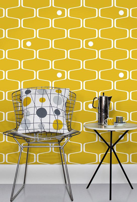 papel de parede para cozinha anos 70 amarelo em tons de amarelo