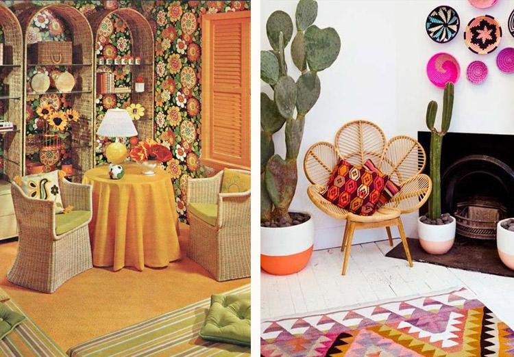 decoração anos 70 - móveis em fibras naturais